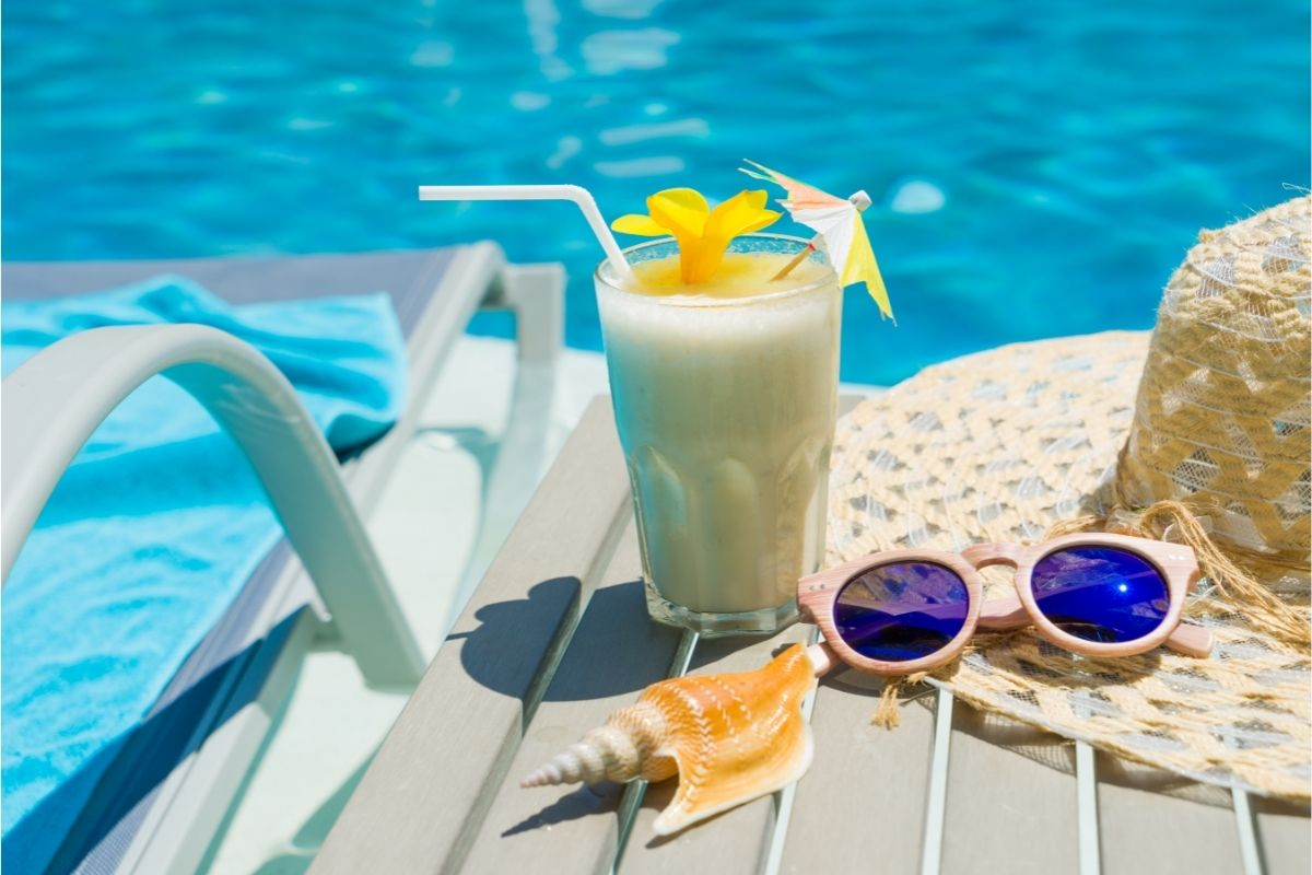 A sweet drink by the swimming pool