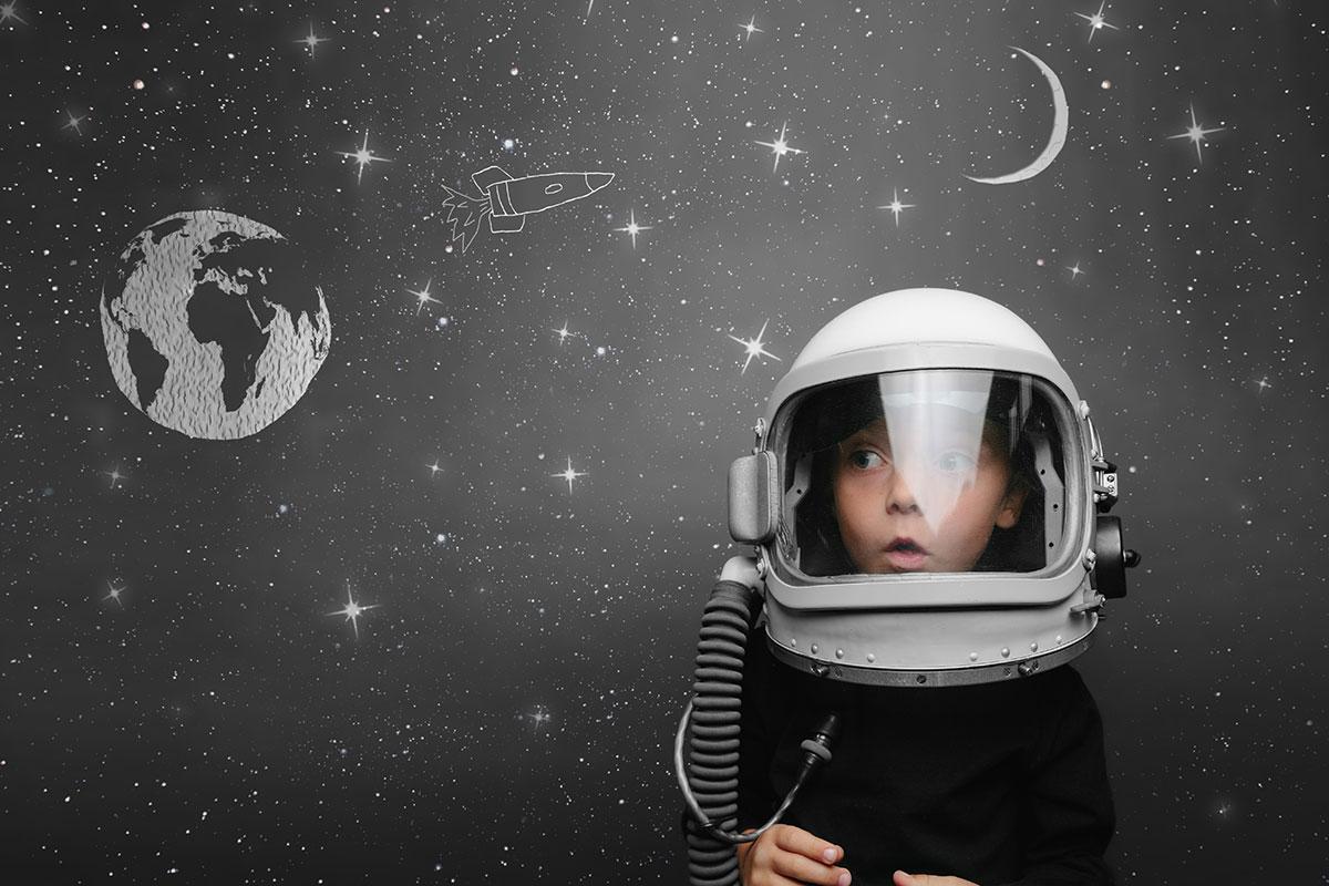 Child Wearing Space Helmet
