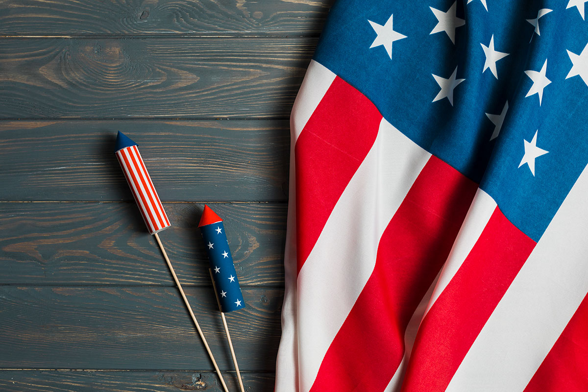 American flag and fireworks on a table